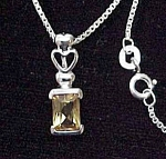 Click here to enlarge image and see more about item 44717: Geniune 925 Sterling Silver Citrine Necklace Heart 16in