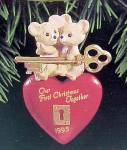Click here to enlarge image and see more about item 44770: 1995 Hallmark Miniature Ornament First Christmas Together Key to Heart