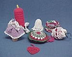 Click here to enlarge image and see more about item 479: 7 Crocheted Christmas Ornaments Bell Angel Decorations