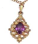 Click here to enlarge image and see more about item 48302: Victorian Inspired Amethyst & Goldtone Scrolled Pendant Neck