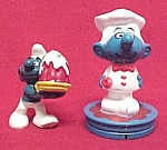 Click here to enlarge image and see more about item 485: 1978 BAKER Smurf Pair Plastic Toy Figures Hardee's PEYO