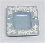 Click here to enlarge image and see more about item 48622:   Wedgwood Queen's Ware Blue Embossed Square Ashtray
