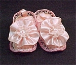 Click here to enlarge image and see more about item 49072: Pink Satin Baby Bootie Wall Hanging or Pin Cushion