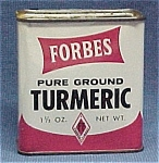 Click here to enlarge image and see more about item 49873: Forbes Turmeric Spice Advertising Tin Vintage