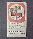 Click here to enlarge image and see more about item 52590: 1948 Farm-Oyl Pocket Ledger Tractor Grease Advertising