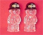Click here to enlarge image and see more about item 53619: Glass Man Men Salt Pepper Shakers Vintage 1940s S & Ps