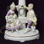 Click here to enlarge image and see more about item 54019: Vintage Boudoir Vanity Lamp Colonial Germany Porcelain