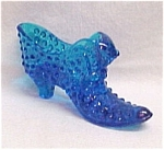 Click here to enlarge image and see more about item 54620: Fenton Art Glass Blue Hobnail CAT Shoe Slipper Vintage