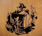 Click to view larger image of Cutting Board Wall Plaque 1940s Camping Campsite Scene (Image4)