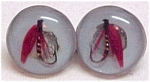 Click here to enlarge image and see more about item 55662: Lucite Fish Lure Hook Screw earrings Vintage