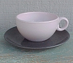Click here to enlarge image and see more about item 56429: Russel Wright Iriquois Casual Pink Cup Charcoal Saucer