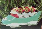 1997 Hallmark Christmas Tree Ornament Downhill Run Bobsled Santa