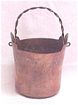 Click here to enlarge image and see more about item 5712: Hand Tooled Copper Metal Basket or Bucket Vintage