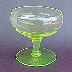 Click here to enlarge image and see more about item 57225: Panel Optic Yellow Green Vaseline Glass Footed Sherbet