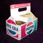 Click here to enlarge image and see more about item 57879: Pepsi Cola 6 Cnt 12 oz Soda Pop Bottle Cardboard Carton Advertising