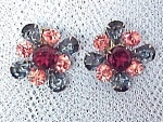 Rhinestone Clip-on Earrings Red Blue Peachy Pink Vntg