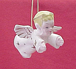Click here to enlarge image and see more about item 58682: Ceramic Boy Angel Figurine Christmas Tree Ornament  Cut