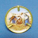 Click here to enlarge image and see more about item 58709: Miniature Limoges Plate in Stand Bringing inthe Sheaves