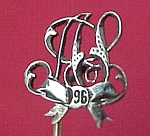 1896 Victorian Silver Plated Stick Pin Initialed HS AS