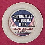 Click here to enlarge image and see more about item 605: Kimberland Dairy Milk Bottle Paper Cap Old Advertising