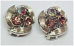 Click here to enlarge image and see more about item 61798: LISNER Pink Aurora Borealis Clip Earrings