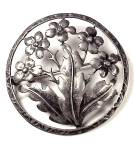 Large Sterling Silver Flower Brooch Floral Pin Vintage