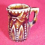 Click here to enlarge image and see more about item 62324: Miniature Mini Stoneware Pottery Pitcher Brown Vintage