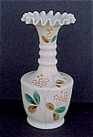 Victorian Bristol Glass Vase Cream w/ Orange Enameling