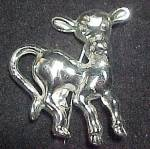 Click to view larger image of Vintage Childs Kids Cow Calf Pin Brooch Silvertone Hook Clasp (Image1)