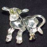Click to view larger image of Vintage Childs Kids Cow Calf Pin Brooch Silvertone Hook Clasp (Image2)