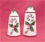Click here to enlarge image and see more about item 63216: Josef Salt Pepper Shakers Christmas Candy Cane Holly