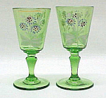 Click here to enlarge image and see more about item 64242: 2 Victorian Green Wine Art Glass Enameled Flower Floral