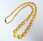 Amber Faceted Crystal Glass Beaded 20 in Necklace Czech