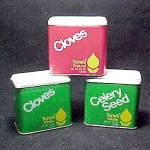 Click here to enlarge image and see more about item 64754: Set of 3 Tone's Spice Tin Celery Seed Cloves Whole Ground w UPC