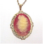 Click here to enlarge image and see more about item 65888: Floral Cameo Pendant Necklace Carved Plastic Vintage