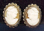 Click to view larger image of Shell Cameo Screw Clip Earrings Vintage 1946 (Image1)