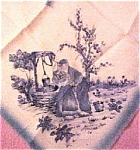 Click here to enlarge image and see more about item 66479: Holland Souvenir Nylon Scarf Dutch Boy Girl Blue Delft
