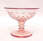 Click here to enlarge image and see more about item 66584: Diamond Quilted Pink Sherbet Imperial Depression Glass