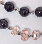Hematite & Pink Cut Crystal Glass Bead Choker Necklace