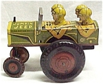 Click here to enlarge image and see more about item 67218: Louis Marx Jumpin Jeep Tin Litho Wind-up Toy Vintage