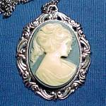 Click here to enlarge image and see more about item 67655: Blue Cameo Pendant Necklace Silvertone Vintage