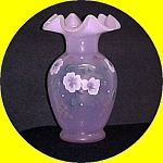 Fenton Art Glass Pink Opalescent Vase Hand Painted