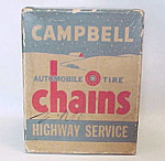 Click here to enlarge image and see more about item 68001: Campbell Automobile Auto Tire Chains BOX Advertising