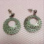 Silver Pierced Style Hoop Dangle Earrings Vintage