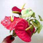 Click to view larger image of 1940s Vintage Plastic Floral Bouquet Anthurium Flowers (Image4)