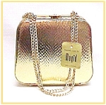 Gold Evening Hand Bag Box Purse Handbag Vintage NEW NWT