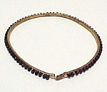 Faceted Jet Black Glass Bead Stretch Beaded BELT Vntg