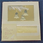 Click here to enlarge image and see more about item 69310: Gibson Christmas Cards Golds Bells on Tree Branch