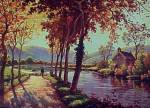 Click here to enlarge image and see more about item 69323: Vintage 1940s Litho Print Fall Scene Sheep Picture