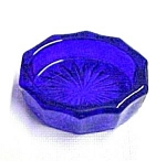 Click here to enlarge image and see more about item 69483: Cobalt Blue Glass Oval Open Salt Dip Cellar Dish Salter